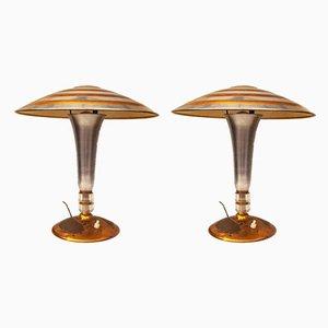 Italienische Art Deco Tischlampen, 1930er, 2er Set