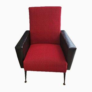 Vintage Sessel aus Stoff in Schwarz & Rot, 1960er