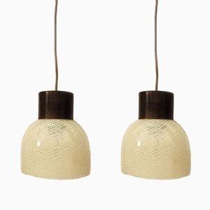 Lampade da soffitto in vetro di Murano e ottone di Carlo Scarpa per Venini, anni '50, set di 2