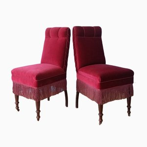 Danish Velour Side Chairs, 1930s, Set of 2