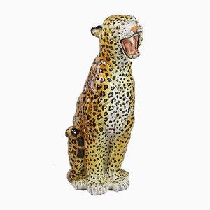 Large Vintage Italian Hand-Painted Ceramic Leopard