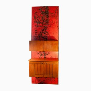 Italian Wooden Mobile Wall Unit with Bar Cabinet Decorated with Boiserie, 1958