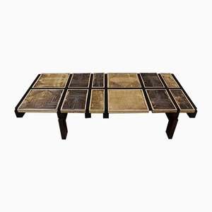 Sandstone Tiles on Rosewood Structure Coffee Table by Roger Capron, 1950s