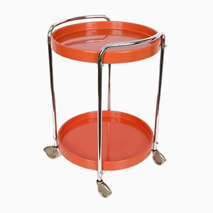 Orange Plastic & Metal Chrome Trolley, 1960s