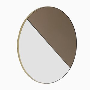 Orbis Dualis™ Mixed Tint Silver + Bronze Round Mirror with Brass Frame Small by Alguacil & Perkoff Ltd