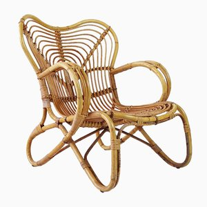 Mid-Century Rattan Lounge Chair from Trio Noordwolde, Holland, 1960s
