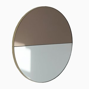 Orbis Dualis™ Mixed Tint Silver + Bronze Round Mirror with Brass Frame Regular