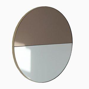 Orbis Dualis™ Mixed Tint Silver + Bronze Round Mirror with Brass Frame Regular