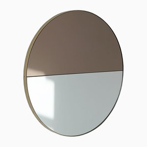 Orbis Dualis™ Mixed Tint Silver + Bronze Round Mirror with Brass Frame Large