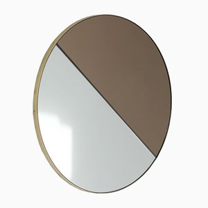 Orbis Dualis™ Mixed Tint Silver + Bronze Round Mirror with Brass Frame Oversized