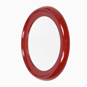 Round Italian Red Lacquered & Resin Mirror, 1970s