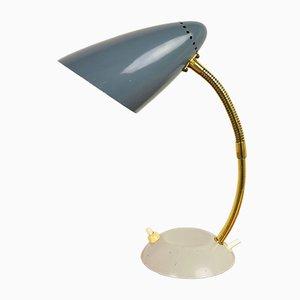 Lampe de Bureau Bleu-Gris avec Col de Cygne, 1950s