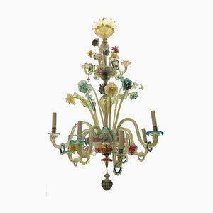 Lampadario in vetro di Murano colorato, XIX secolo