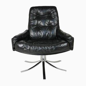 Drehstuhl aus schwarzem Leder mit verchromtem Gestell, 1960er