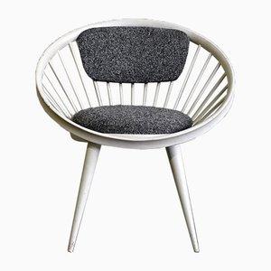 Grauer & Weißer Circle Stuhl von Yngve Ekstrom für Swedese, 1960er