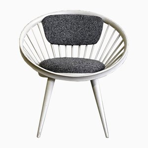 Grey & White Circle Chair by Yngve Ekstrom for Swedese, 1960s