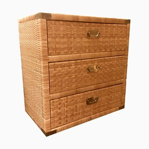 Organic Rattan Brass Chest of Drawers, 1960s
