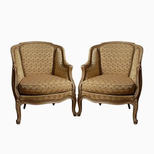 Antique Carved Wood Louis XV Bergere Armchairs, 1920s, Set of 2