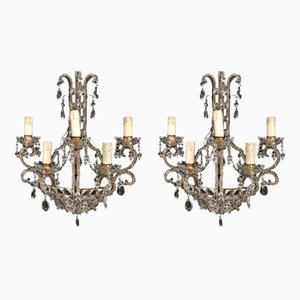 Large Vintage Crystal Beaded Sconces, Set of 2