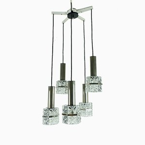 Chrome Chandelier with Faceted Glass & 5 Shades, 1960s
