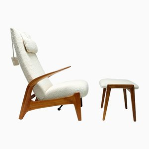 Rock 'n' Rest Lounge Chair & Footstool by Rolf Rastad & Adolf Relling for Arnestad Bruk, Norway, 1950s, Set of 2