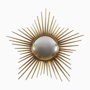 Italian Gold Brass Sunburst Mirror by Chaty Vallauris, 1950s