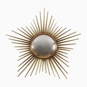 Italian Gold Brass Sunburst Mirror by Chaty Vallauris, 1950s
