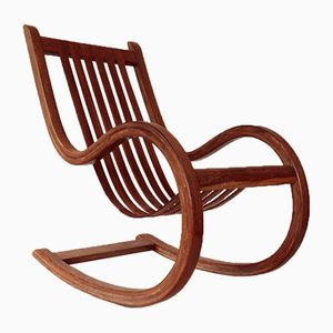 Vintage Caribbean Tropical Rosewood Rocking Chair by Salvador Vidal