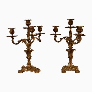 Rococo Gilt Bronze 5 Light Candleholders by Francois Linke for Napoleon III, Set of 2