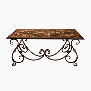 Antique Marble Table with Floral Decor from Rome & Wrought Iron Base