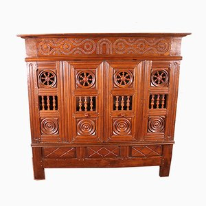 17th Century Breton Wardrobe or Cupboard in Oak Turning in Boxwood