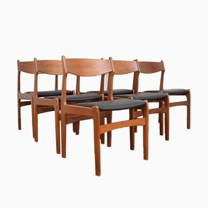 Mid-Century Danish Teak & Leather Dining Chairs, 1960s, Set of 6
