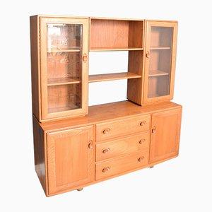 Vintage Glazed Elm Model 455D Windsor Display Cabinet from Ercol, 1960s