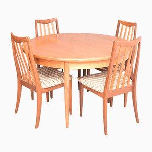 Tavolo da pranzo Fresco rotondo con sedie di Viktor Wilkins per G-Plan, anni '60, set di 5