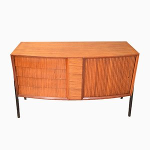 Danish Style Teak Sideboard with Tambour Doors, 1950s