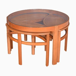 Teak & Glass Astro Style Nesting Tables from Nathan, 1960s