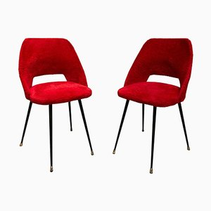 French Red Furry Fabric Chairs in the Style of Pierre Guariche, 1960s, Set of 2