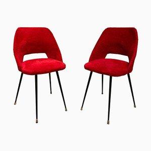 Rote Französische Furry Fabric Stühle im Stil von Pierre Guariche, 1960er, 2er Set