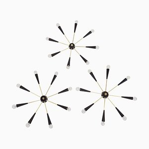 Italian Stars Light with 8-Arms Pendant or Wall Light, 1950s