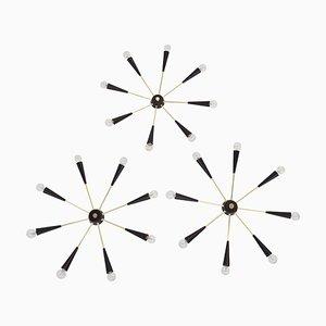 Italienische Sterne Hängeleuchte mit 8 Armen Hängelampe oder Wandlampe, 1950er