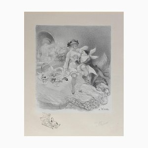Litografía Seven Deadly Sins de nude erótica de Adolphe Willette, 1917