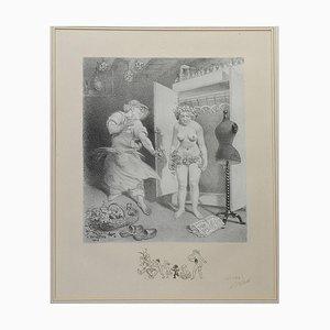 Seven Deadly Sins Erotic Nude Lithographie von Adolphe Willette, 1917