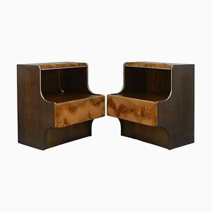 Mid-Century Nightstands with Suede and Lights, 1970s, Set of 2