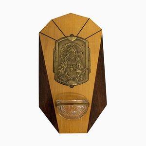 Französisches Art Deco Weihwasserbecken mit Jesus Herz-Jesu, 1920er