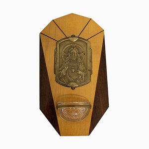 French Art Deco Holy Water Font with Jesus Christ Sacred Heart, 1920s