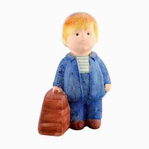 Boy with Bag Figure in Glazed Ceramic by Lisa Larson for Gustavsberg