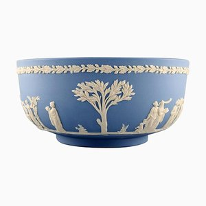 Large Bowl in Light Blue Stoneware with Classicist Scenes from Wedgwood, England, 1930s