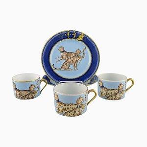 Coffee Cups & Plates in Porcelain from Limoges & Porcelaine de Paris, 1960s, Set of 5