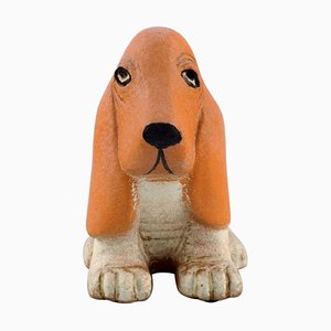 Basset Hound in Glazed Ceramic by Lisa Larson for K-Studion & Gustavsberg