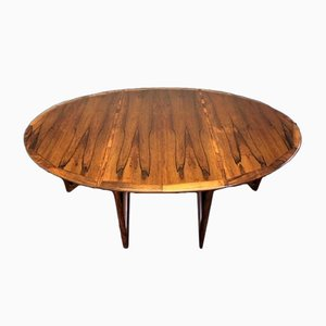 Danish Rosewood Oval Drop Leaf Dining Table by Kurt Østervig, 1960s